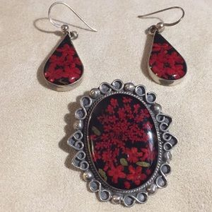 Jewelry - Sterling Pin/Pendant & Earrings Set